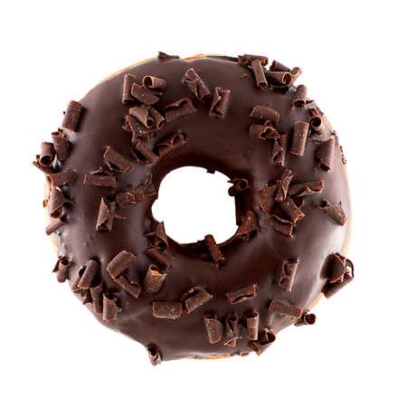 Een enkele chocolade geglazuurde donut met chocoladeschilfers geïsoleerde witte achtergrond Stockfoto - 52919301