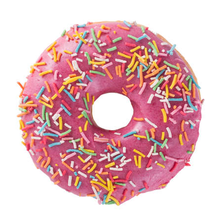 Donut with sprinkles isolated on white background top view Фото со стока