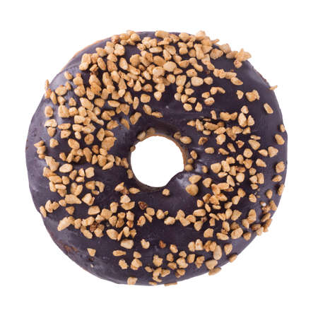 Blueberry donut with sprinkles isolated on white background top view 스톡 콘텐츠