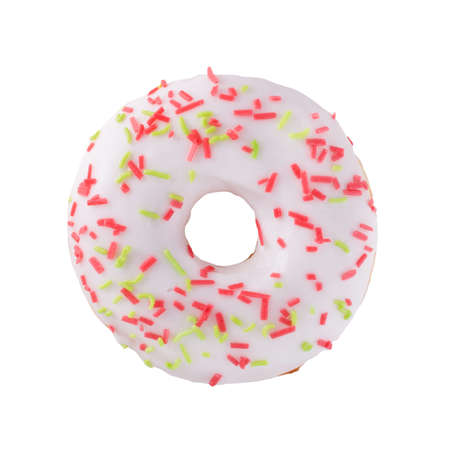 A single white glazed donut with sprinkles isolated white background