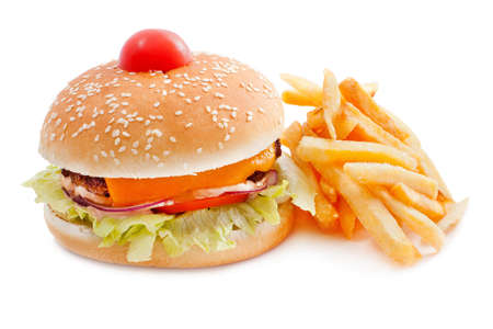 solated on white: Cheeseburger with French fries iand cherry tomatoes solated on white background