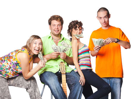 earned: Group portrait of the actor enjoy play money Stock Photo