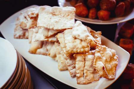 brushwood: Plate Russian sweet dough fried, called Brushwood