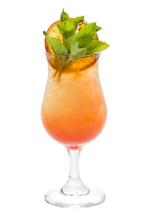 Orange coctail with mint leaves close-up Stock Photo