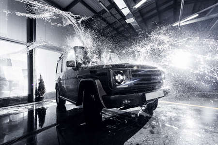SUV car at the carwash Stock Photo