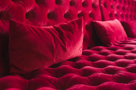Velour surface of sofa close-up Stock Photo