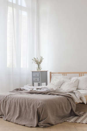 bedsheet: View of an unmade crumpled bed