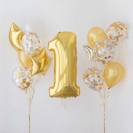 1 歳の誕生日のための装飾記念日 写真素材