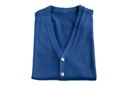 folded Blue sweater isolated on white background. Top view