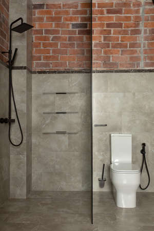 Glass screen dividing small bathroom into zone with traditional black twin shower and area with white coupled toilet Stockfoto - 130628713