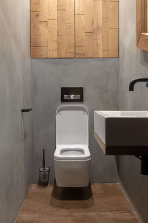 Contemporary interior design of clean light small narrow restroom with white square toilet bowl and sink among walls with cement effect in loft style