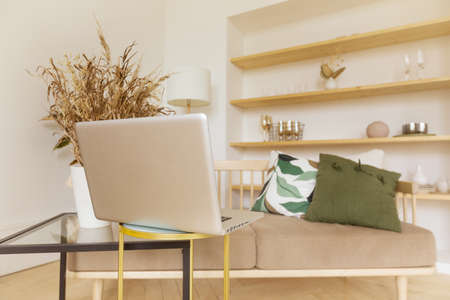 Modern laptop placed on table near comfortable couch in cozy living room at home