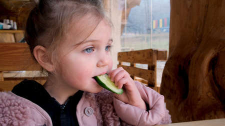 Cute little girl in warm outerwear biting slice of fresh cucumber while sitting at table in rustic style restaurant in countryside Stockfoto