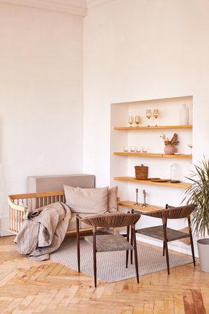 Cozy living room in light minimal style Foto de archivo