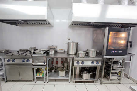 Interior of empty kitchen of restaurant there is not anyone Foto de archivo