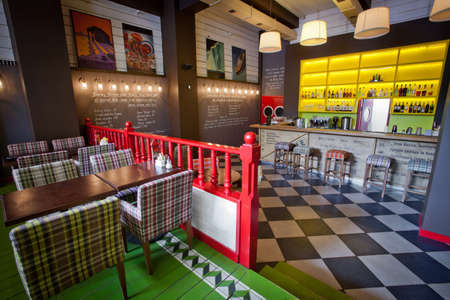 Colorful interior of stylish cozy color cafe