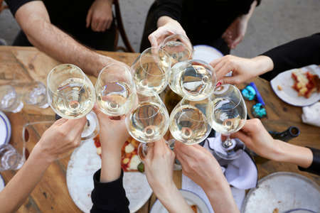 Friends clinking wineglasses with white wine during party outdoors