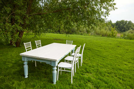 White table with chairs under tree on lawn