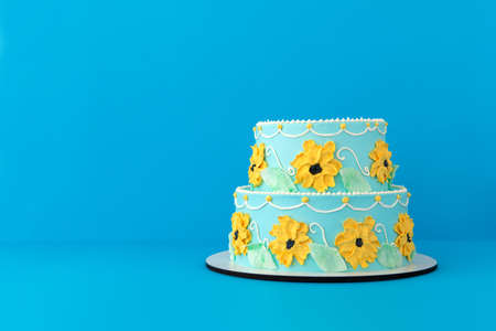 Festive cake with colorful floral decor