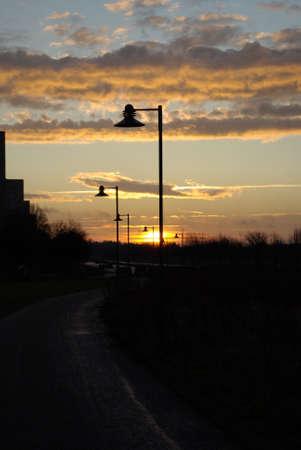 streetlights: Morning Streetlights Stock Photo