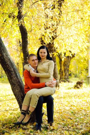Couple in autumn park Stock Photo - 5996431