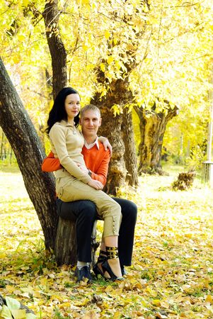 Couple in autumn park Stock Photo - 5996446