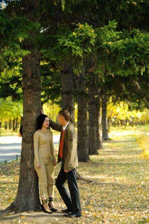 Couple in autumn park Stock Photo - 5996447