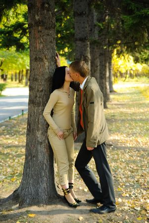 Couple in autumn park Stock Photo - 5996436