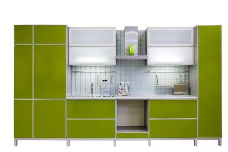 armoire cuisine: cuisine vert moderne isol� sur fond blanc Banque d'images