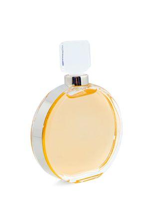 parfume transparent glass bottle isolated on white background photo