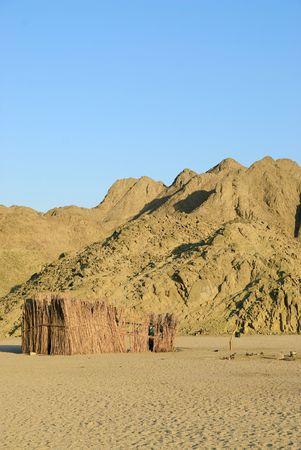 egypt bedouin hut in desert photo