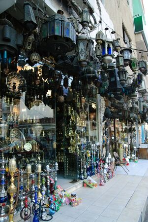 egyptian street souvenir hookah shop in down town photo
