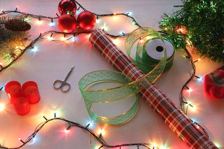 atmosfera: Cozy atmosphere, Christmas gifts Foto de archivo