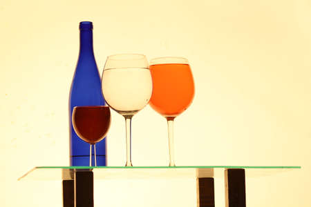 colorful still life: Colorful still life of bottles and glasses