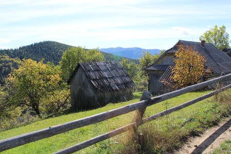 farmstead: farmhouse and farmstead in mountain locality Stock Photo