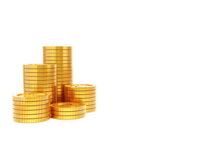 3d render gold coin stack , copy space on white background