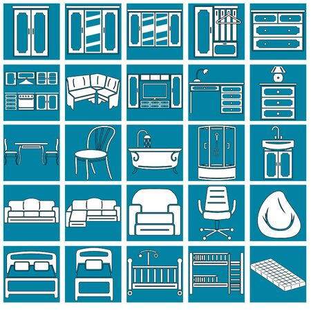 translucent icons of different furniture for the site