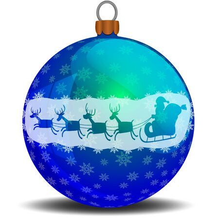 Christmas blue ball with snowflakes and Santa Claus on a sleigh with deers Stock Illustratie