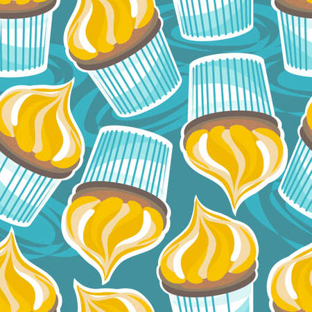 cupcakes on turquoise Vector