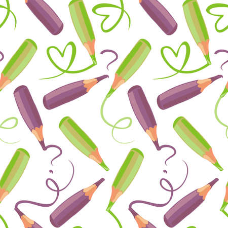 green and purple crayons Vector