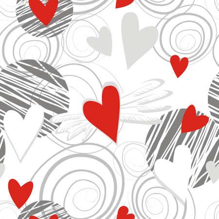 wallpaper: flying hearts on white Illustration