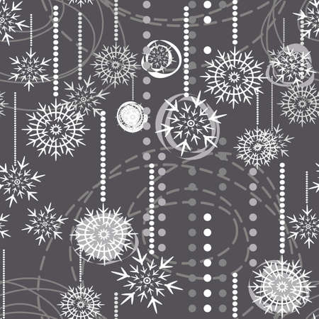 christmas snow: snowflakes on gray background