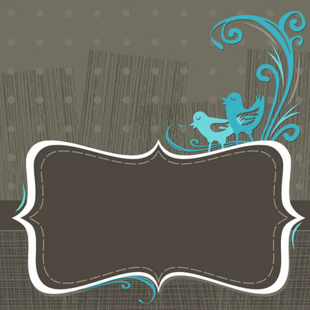 chocolate invitation with turquoise birds Illustration