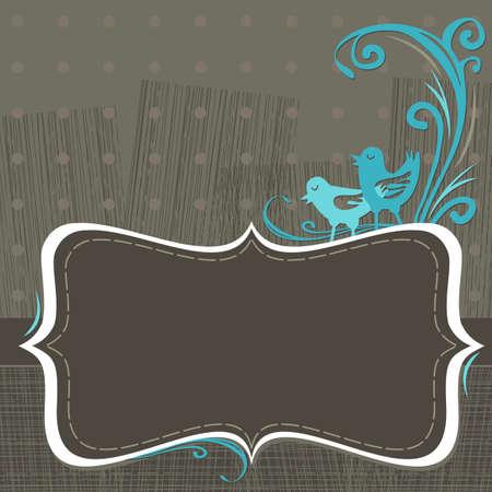 chocolate invitation with turquoise birds Illustration