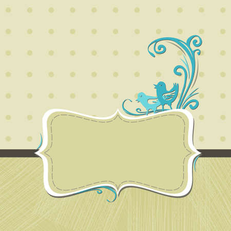 turquoise birds on beige dots Vector