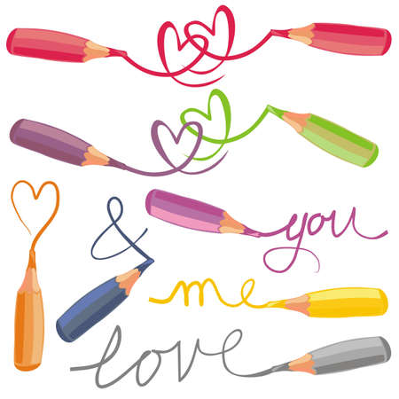 love signs with crayons Illustration