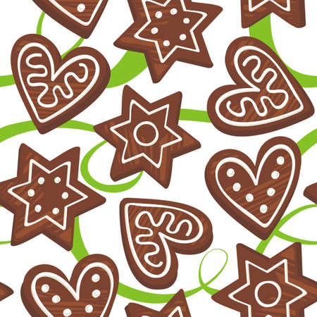 gingerbreads on green ribbon Stock Vector - 15515363