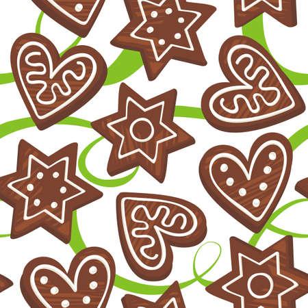 christmas cake: gingerbreads on green ribbon