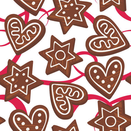 gingerbreads on red ribbon Vector