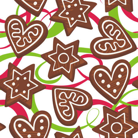 gingerbreads on two ribbons Vector